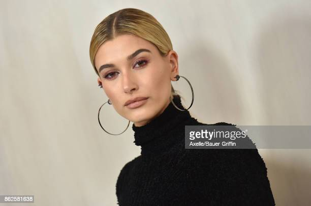 Model Hailey Baldwin arrives at Hammer Museum Gala in the Garden on October 14 2017 in Westwood California