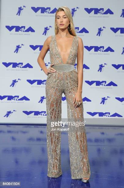 Model Hailey Baldwin arrives at the 2017 MTV Video Music Awards at The Forum on August 27 2017 in Inglewood California
