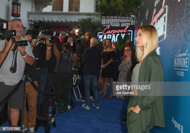 Model Hailey Baldwin at Apple Music Launch Party Carpool Karaoke The Series with James Corden on August 7 2017 in West Hollywood California