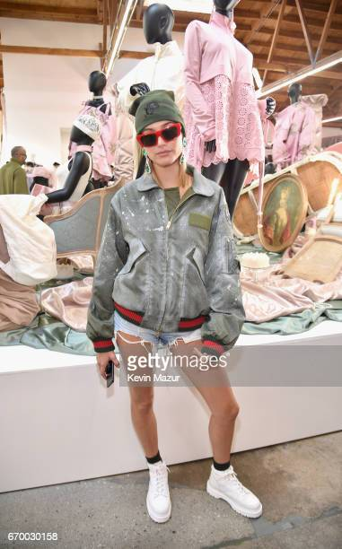 Model Hailey Baldwin at the FENTY PUMA by Rihanna Experience on April 18 2017 in Los Angeles California
