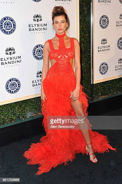 Model Hailey Baldwin attends Stevie Wonder's HEAVEN 10th Anniversary celebration presented by The Art of Elysium at Red Studios on January 7 2017 in...