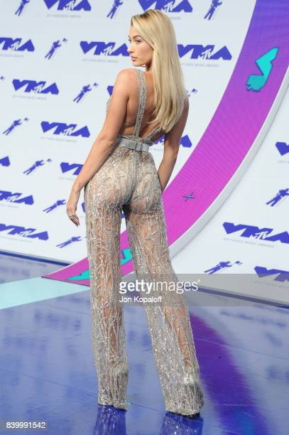 Model Hailey Baldwin attends the 2017 MTV Video Music Awards at The Forum on August 27 2017 in Inglewood California