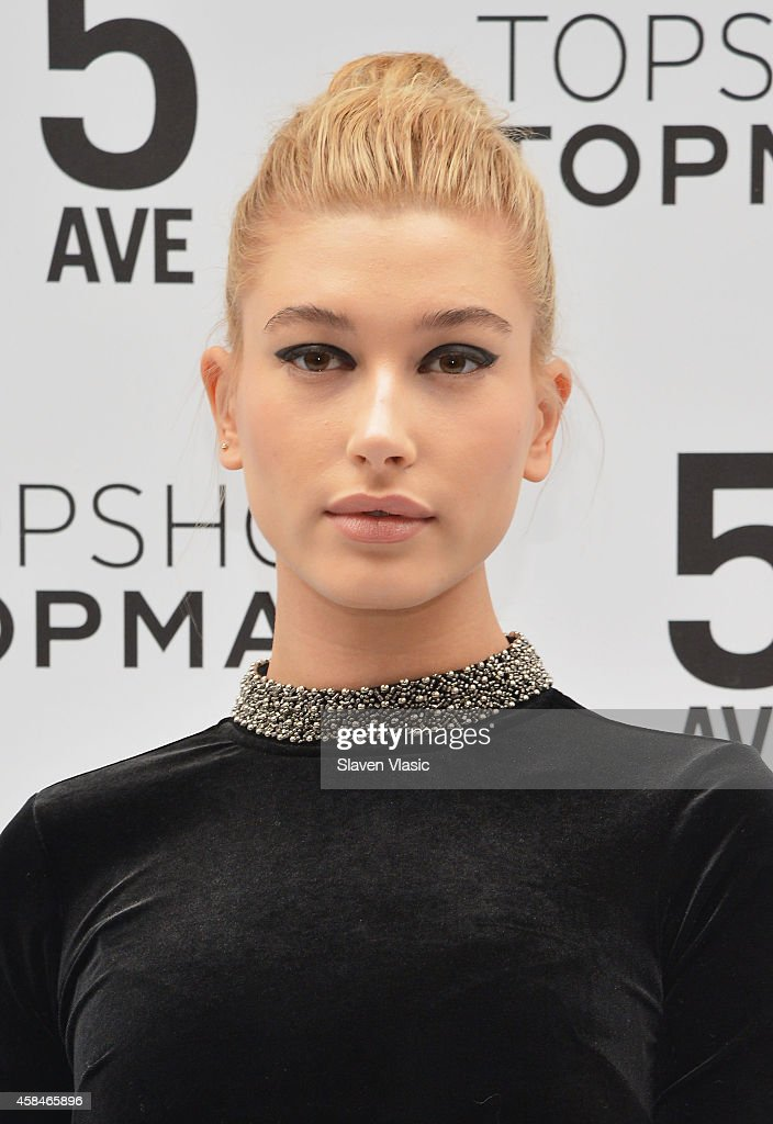 Model Hailey Baldwin attends the Topshop Topman flagship store opening at Topshop Topman Flagship Store on November 5, 2014 in New York City.
