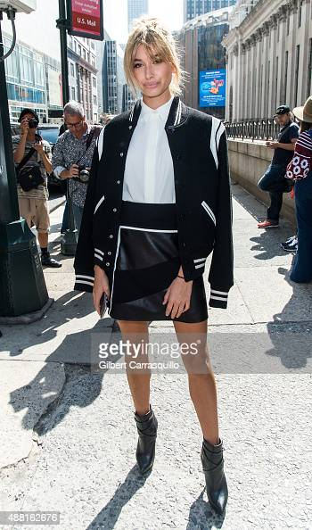 Model Hailey Baldwin is seen arriving at Public School fashion show during Spring 2016 New York Fashion Week on September 13 2015 in New York City