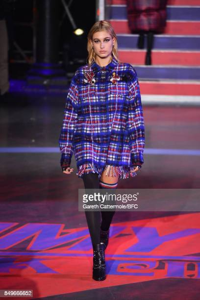 Model Hailey Baldwin walks the runway at the Tommy Hilfiger show during London Fashion Week September 2017 on September 19 2017 in London England