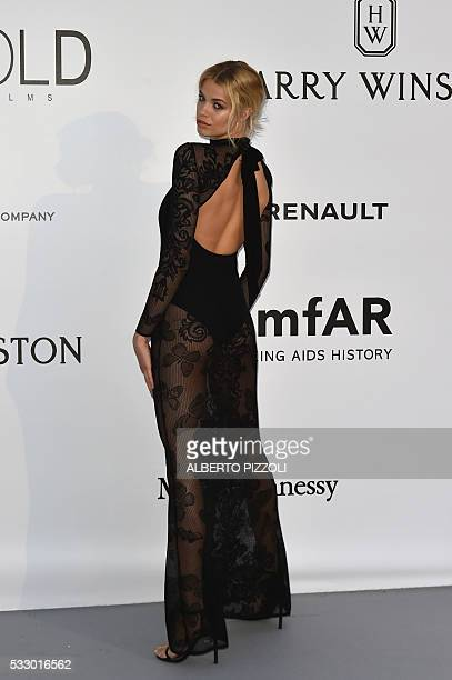 US model Hailey Clauson poses as she arrives for the amfAR's 23rd Cinema Against AIDS Gala on May 19 2016 at the Hotel du CapEdenRoc in Cap d'Antibes...