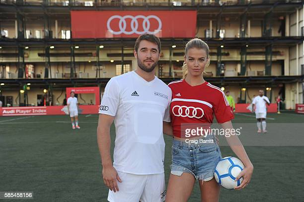 Model Hailey Clauson poses with Actor Josh Bowman before the Audi Player Index PickUp Match at Chelsea Piers on August 2 2016 in New York City