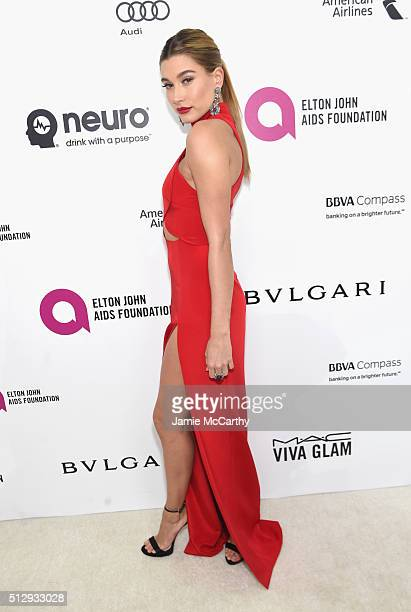Model Hailey Rhode Baldwin attends the 24th Annual Elton John AIDS Foundation's Oscar Viewing Party at The City of West Hollywood Park on February 28...