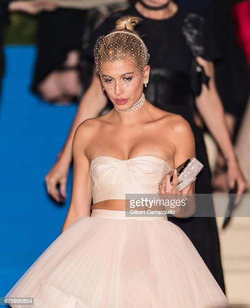 Model Hailey Rhode Baldwin is seen leaving the 'Rei Kawakubo/Comme des Garcons Art Of The InBetween' Costume Institute Gala at Metropolitan Museum of...