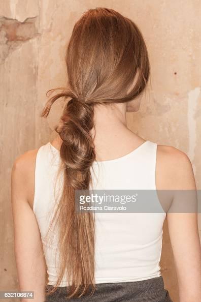 A model hair detail backstage ahead of the Dawid Tomaszewski show during the MercedesBenz Fashion Week Berlin A/W 2017 at Kaufhaus Jandorf on January...