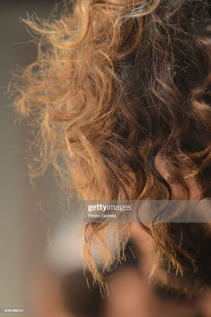 A model, hair detail, backstage ahead of the Giovane Gentile show during Mercedes-Benz Istanbul Fashion Week September 2017 at Zorlu Center on September 13, 2017 in Istanbul, Turkey.