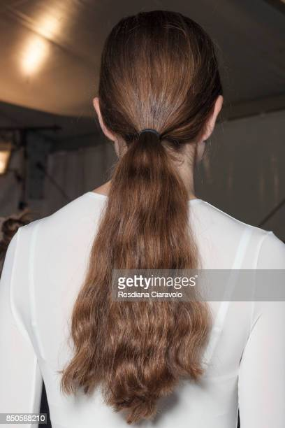 A model hair detail is seen ahead backstage of the Max Mara show during Milan Fashion Week Spring/Summer 2018 on September 21 2017 in Milan Italy