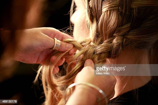 A model hair detail is seen backstage ahead of the Maya show at Fashion Scout during London Fashion Week Spring/Summer 2016 on September 19 2015 in...