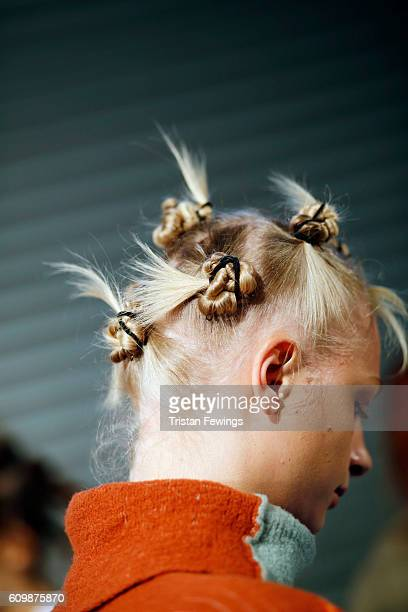 A model hair detail seen backstage ahead of the Diesel Black Gold show during Milan Fashion Week Spring/Summer 2017 on September 23 2016 in Milan...