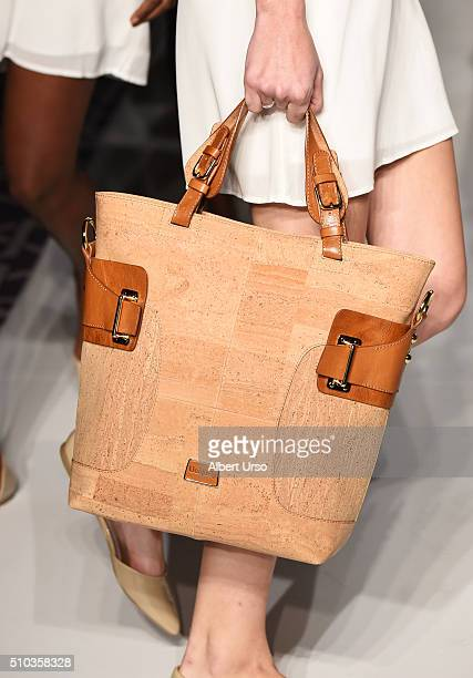 A model handbag detail walks the runway at the Designers' Collective wearing Uniquely during Fall 2016 New York Fashion Week on February 13 2016 in...