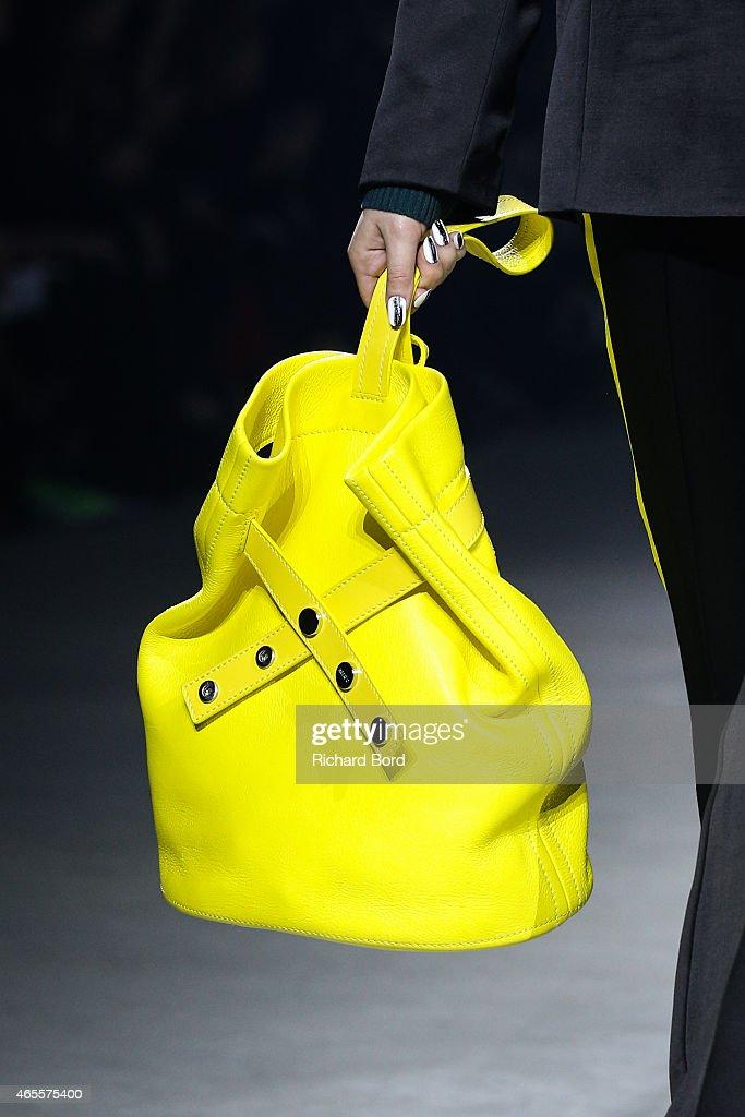A model handbag detail walks the runway during the Kenzo show as part of the Paris Fashion Week Womenswear Fall/Winter 2015/2016 at Paris Event...