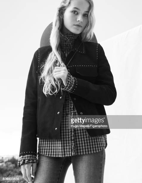 Model poses at a fashion shoot for Madame Figaro on June 30 2017 in Paris France Jacket shirt and jeans hat PUBLISHED IMAGE CREDIT MUST READ Hugo...