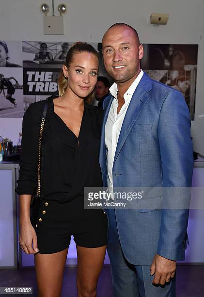 Model Hannah Davis and Baseball player Derek Jeter and and founding publisher of The Players' Tribune attend the Player's Tribune party to celebrate...