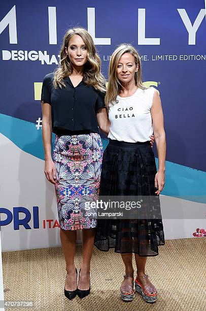 Model Hannah Davis and Designer Michelle Smith attend Milly For DesigNation Collection Launch at Isola Trattoria Crudo Bar on April 22 2015 in New...