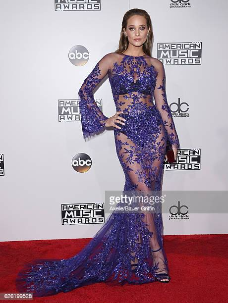 Model Hannah Davis arrives at the 2016 American Music Awards at Microsoft Theater on November 20 2016 in Los Angeles California
