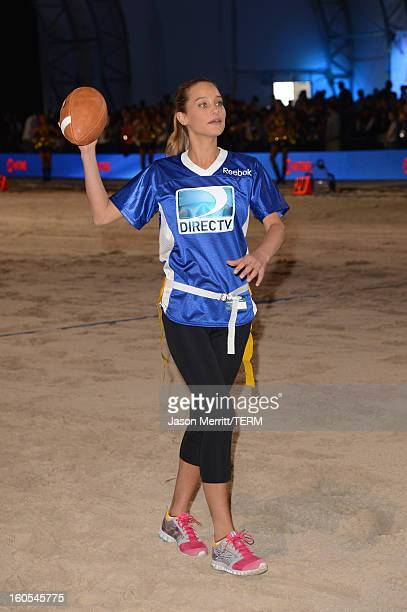 Model Hannah Davis attends DIRECTV'S Seventh Annual Celebrity Beach Bowl at DTV SuperFan Stadium at Mardi Gras World on February 2 2013 in New...