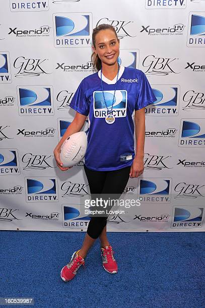 Model Hannah Davis attends GBK and DirecTV Celebrity Beach Bowl Thank You Lounge at DTV SuperFan Stadium at Mardi Gras World on February 2 2013 in...