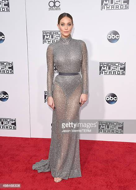 Model Hannah Davis attends the 2015 American Music Awards at Microsoft Theater on November 22 2015 in Los Angeles California