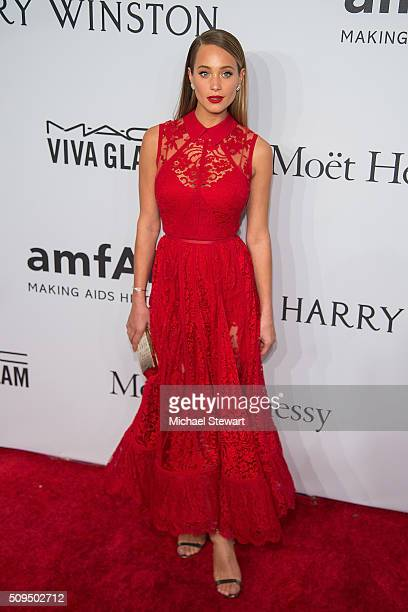 Model Hannah Davis attends the 2016 amfAR New York Gala at Cipriani Wall Street on February 10 2016 in New York City