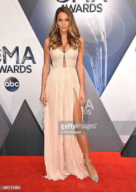 Model Hannah Davis attends the 49th annual CMA Awards at the Bridgestone Arena on November 4 2015 in Nashville Tennessee