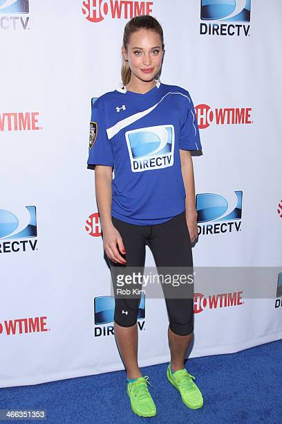 Model Hannah Davis attends the DirecTV Beach Bowl at Pier 40 on February 1 2014 in New York City