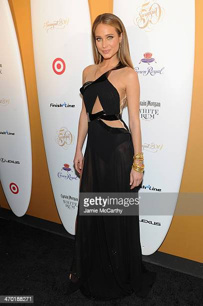 Model Hannah Davis attends the Sports Illustrated Swimsuit 50 Years of Swim in NYC Celebration at the Sports Illustrated Swimsuit Beach House on...