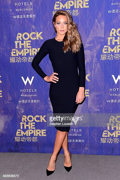 Model Hannah Davis attends W Hotels kicks off of Global 'Rock the Empire' Tour to celebrate the opening of W Beijing at W New York – Downtown on...