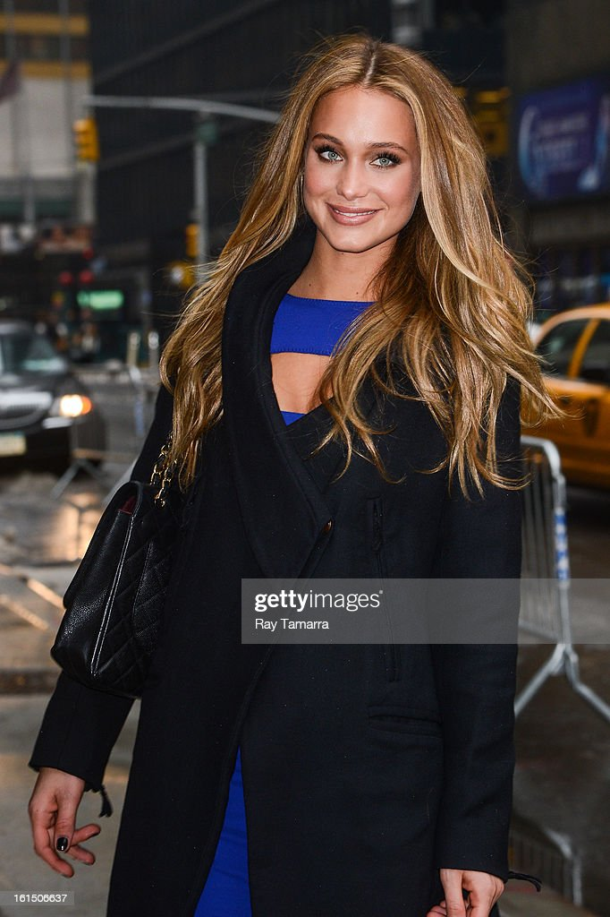 Model Hannah Davis enters the 'Late Show With David Letterman' taping at the Ed Sullivan Theater on February 11, 2013 in New York City.