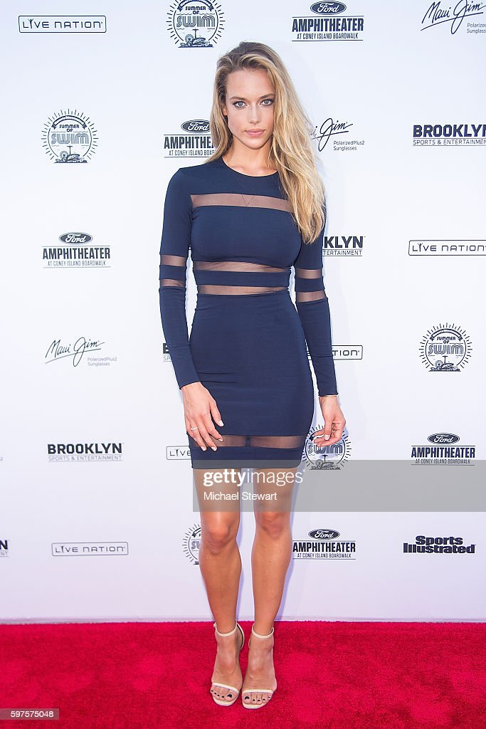 Model Hannah Ferguson attends the 2016 Sports Illustrated Summer of Swim Fan Festival Concert at the Ford Amphitheater at Coney Island Boardwalk on...