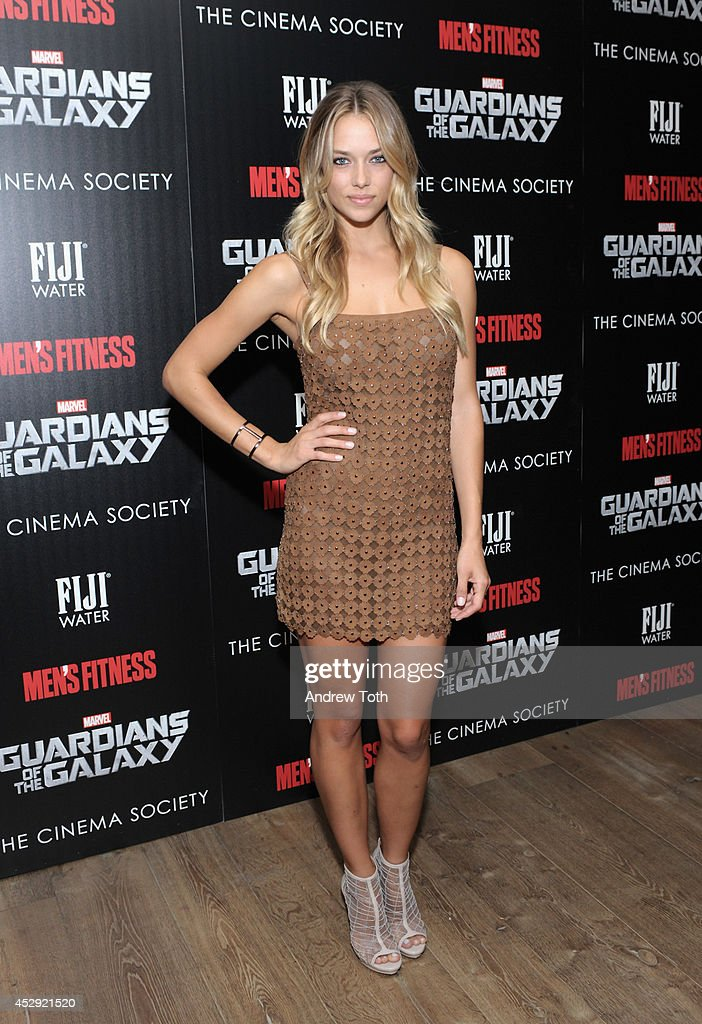 Model <a gi-track='captionPersonalityLinkClicked' href=/galleries/search?phrase=Hannah+Ferguson&family=editorial&specificpeople=11247832 ng-click='$event.stopPropagation()'>Hannah Ferguson</a> attends The Cinema Society with Men's Fitness & FIJI Water host a screening of 'Guardians of the Galaxy' on July 29, 2014 in New York City.