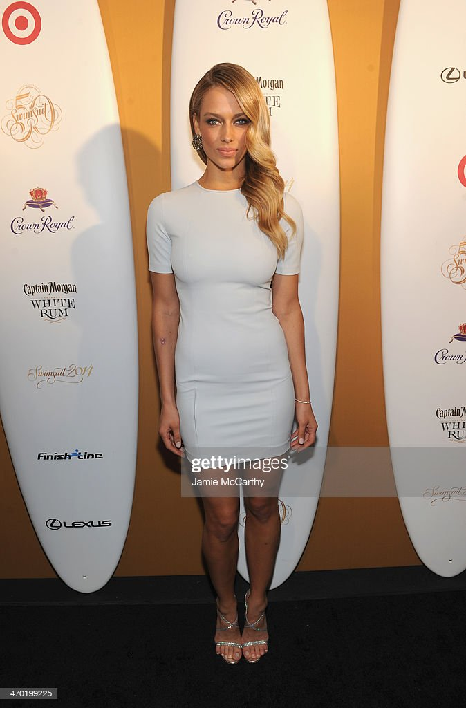 Model Hannah Ferguson attends the Sports Illustrated Swimsuit 50 Years of Swim in NYC Celebration at the Sports Illustrated Swimsuit Beach House on February 18, 2014 in New York City.