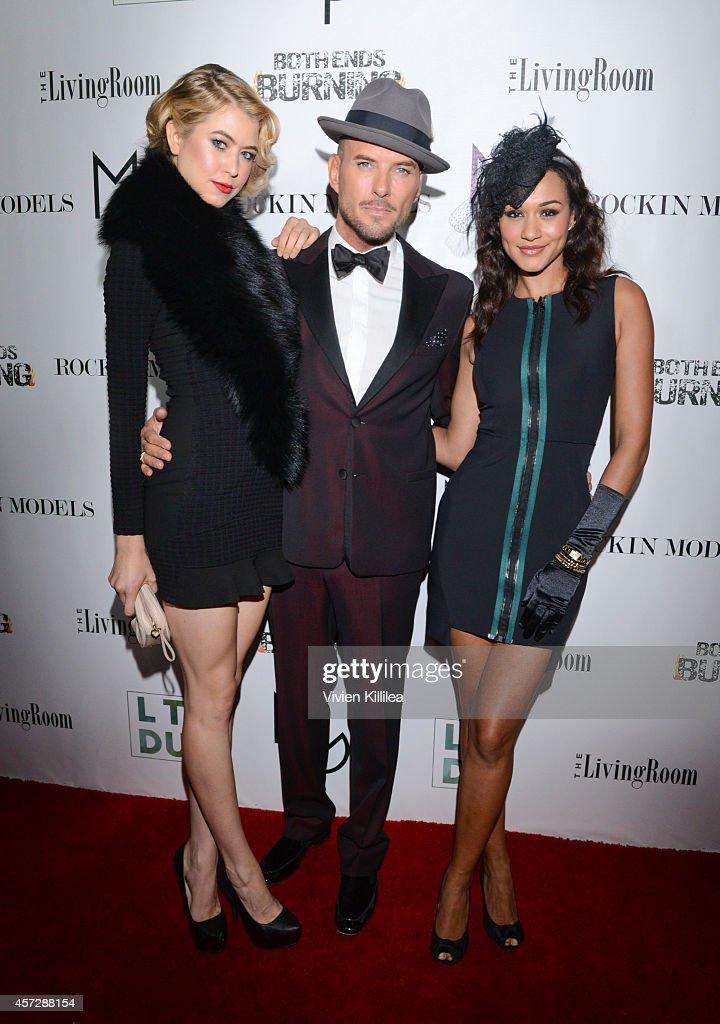 Model Hannah Kat Jones singer Matt Goss and model Mercedes Yvette attend A Night With Matt Goss at W Hollywood on October 15 2014 in Hollywood...
