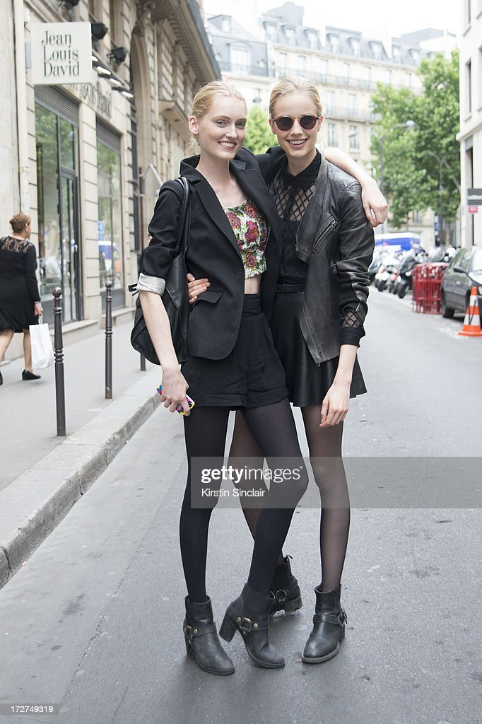 Model Hannare Blaauboer and Model Quirine Engelon day 4 of Paris Collections: Womens Haute Couture on July 04, 2013 in Paris, France.