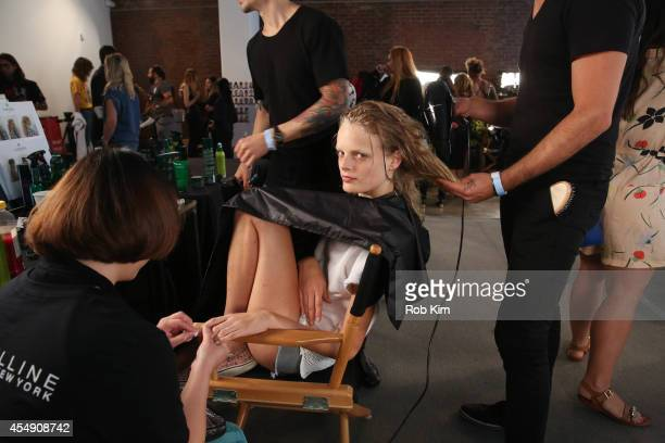 Model Hanne Gaby Odiele at hair and makeup backstage at Public School during MADE Fashion Week Spring 2015 at Milk Studios on September 7 2014 in New...