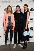 Model Hanne Gaby Odiele Fashion designer Raf Simons and Irina Liss attend the Guggenheim International Gala PreParty made possible by Dior on...