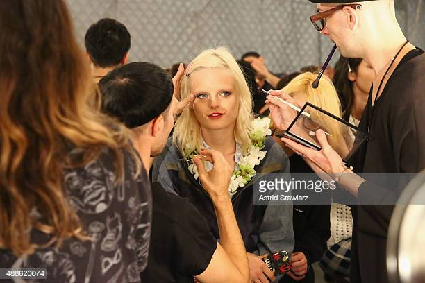 Model Hanne Gaby Odiele is prepared backstage at Anna Su Spring 2016 during New York Fashion Week The Shows at The Arc Skylight at Moynihan Station...