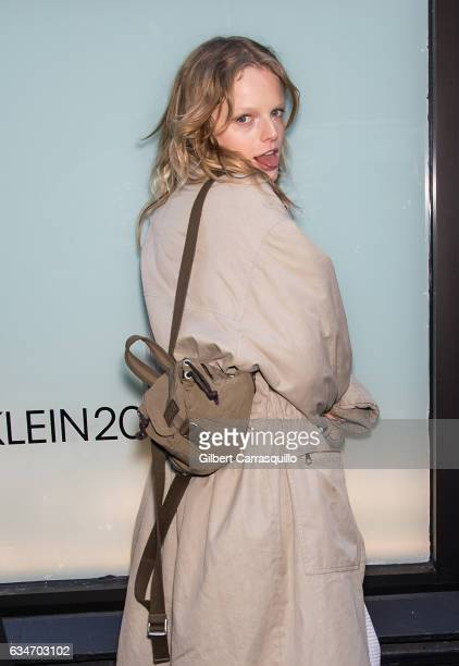 Model Hanne Gaby Odiele is seen outside the Calvin Klein Collection fashion show with new chief creative officer Raf Simons during New York Fashion...