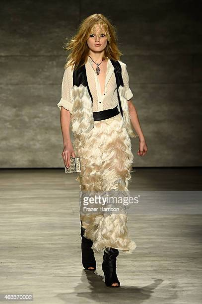 Model Hanne Gaby Odiele walks the runway at the Rebecca Minkoff fashion show with TRESemme during MercedesBenz Fashion Week Fall 2015 at The Pavilion...