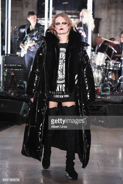 Model Hanne Gaby Odiele walks the runway for the Philipp Plein collection during New York Fashion Week The Shows at New York Public Library on...