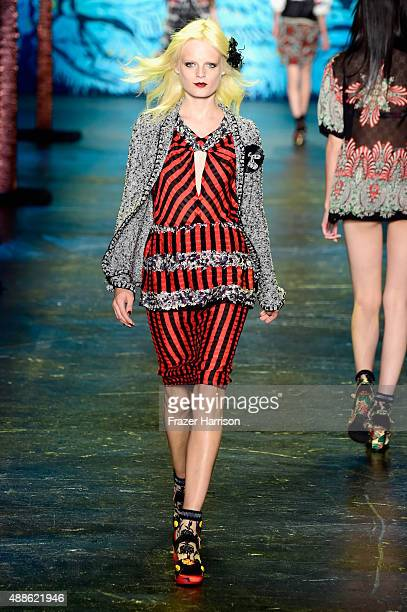 Model Hanne Gaby Odiele walks the runway wearing Anna Sui Spring 2016 during New York Fashion Week The Shows at The Arc Skylight at Moynihan Station...