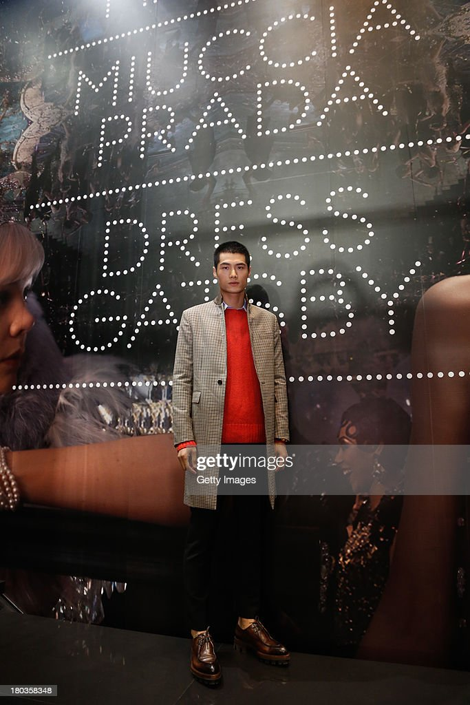 Model Hao Yunxiang attends Miuccia Prada and Catherine Martin Dress Gatsby Exhibition in Prada store on September 10, 2013 in Shanghai, China.