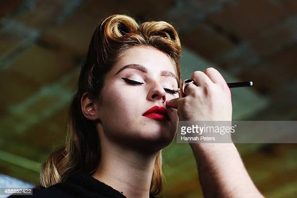 A model has her make up done ahead of the Britomart 'A Taste of Fashion' Progressive Lunch at the Britomart Precinct on September 18 2015 in Auckland...