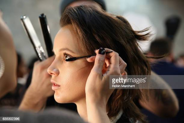 A model has their makeup done backstage for the Dennis Basso collection during New York Fashion Week The Shows at Gallery 1 Skylight Clarkson Sq on...