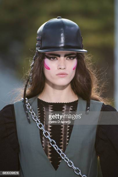 A model hat detail showcases the design on runway during the Louis Vuitton Resort 2018 show at the Miho Museum on May 14 2017 in Koka Japan
