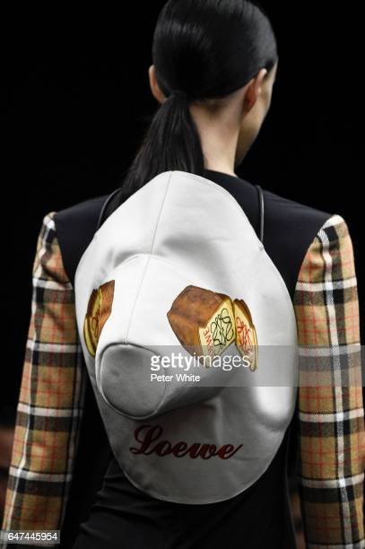 <<A model hat detail walks the runway during the Loewe show as part of the Paris Fashion Week Womenswear Fall/Winter 2017/2018 >> on March 3 2017 in...
